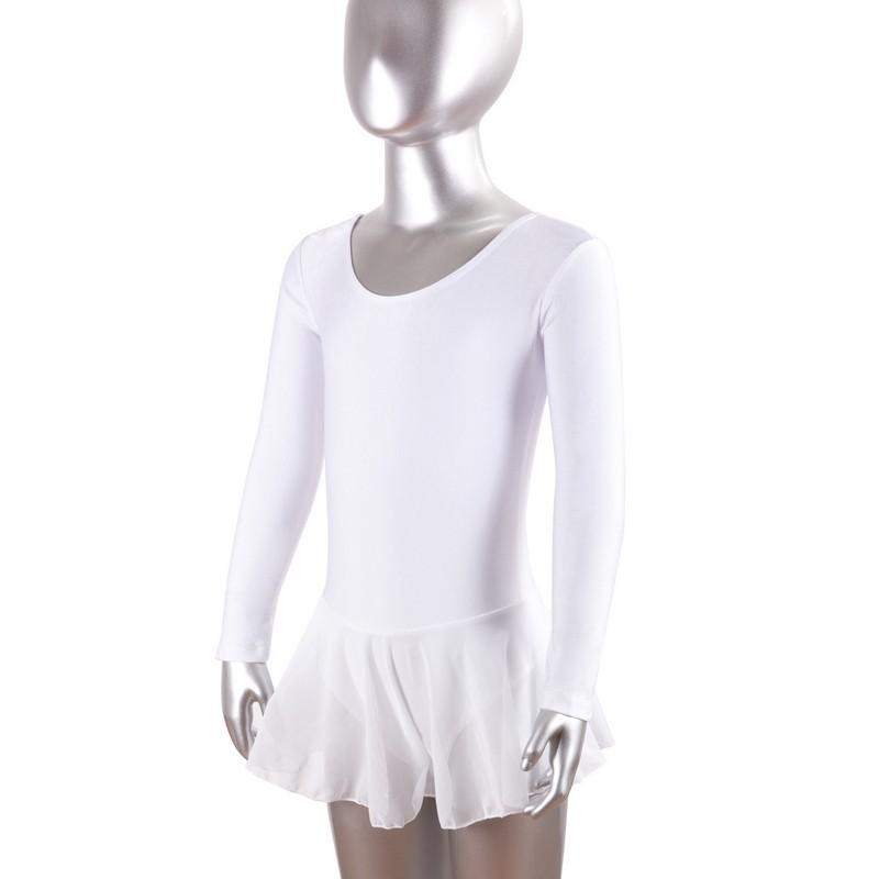 Купальник для хореографии с юбкой-сеткой длинный рукав лайкра белый GO-029