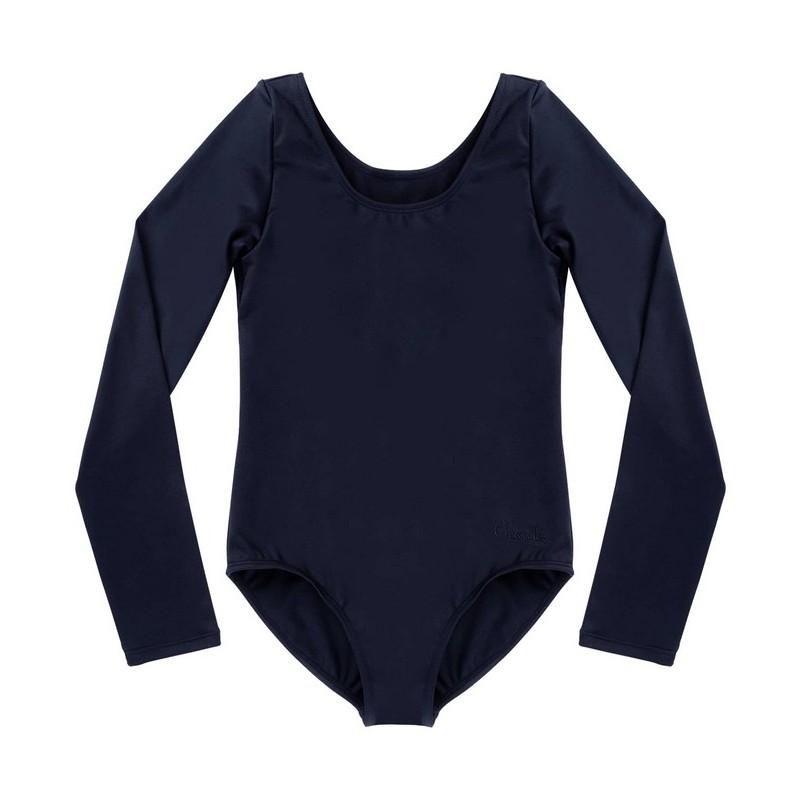 Купальник гимнастический Chante Alica, длинный рукав, хлопок, черный, детский