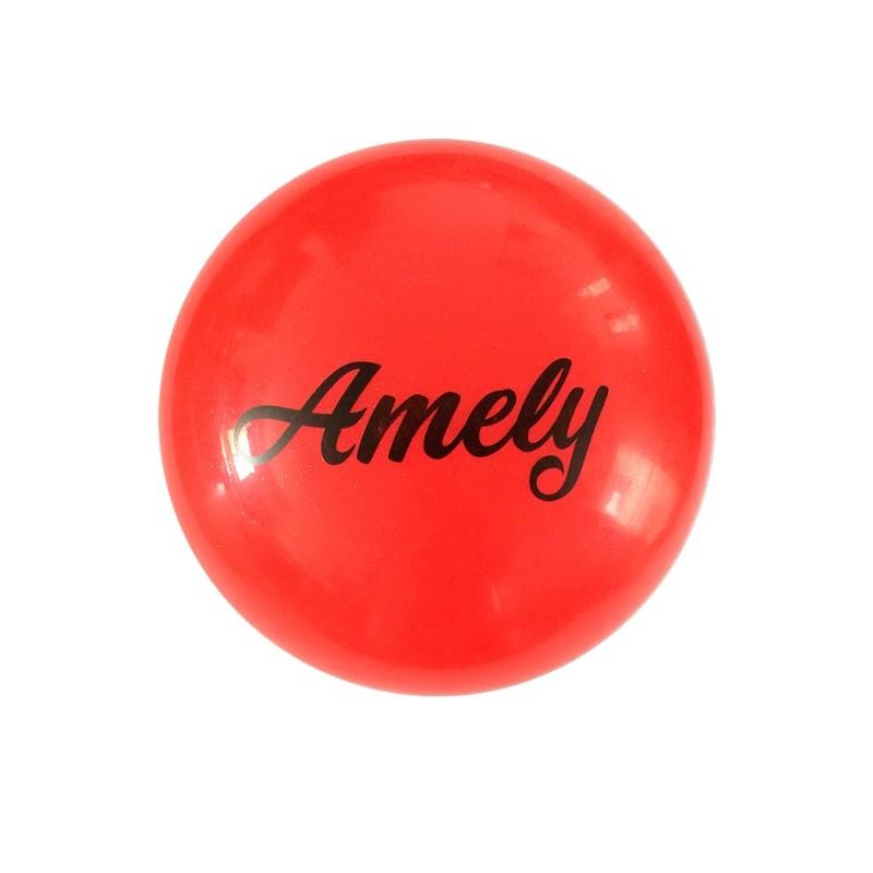 Мяч для художественной гимнастики Amely AGB-102 D=19 см, красный, с блестками