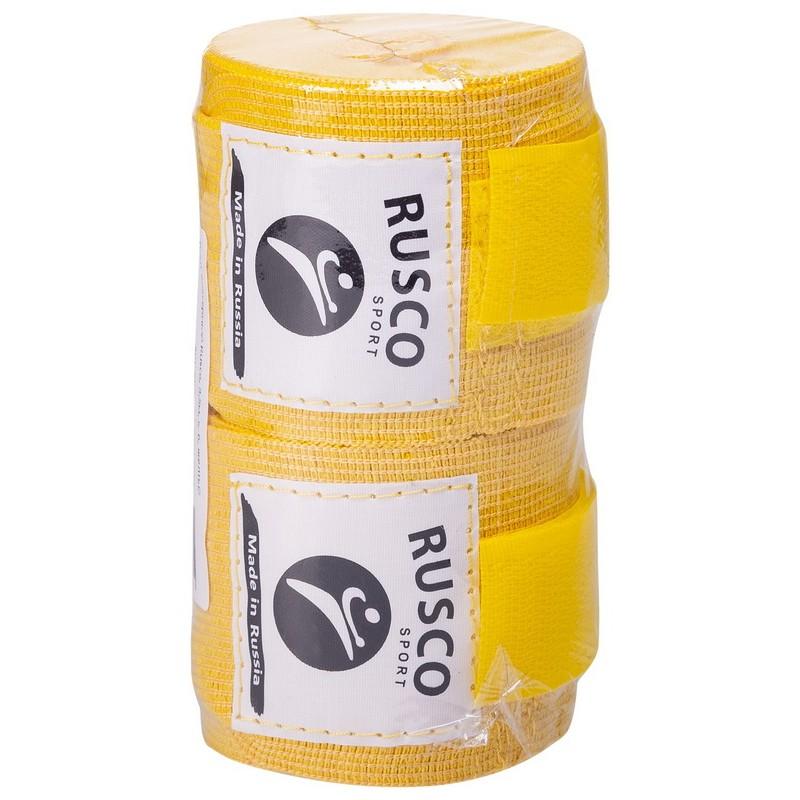Бинт боксерский Rusco 4,5м, х/б, желтый