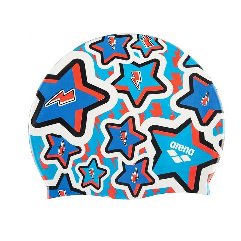 Шапочка для плавания Arena Print Jr детская, 94171208, синий, принт Frolic