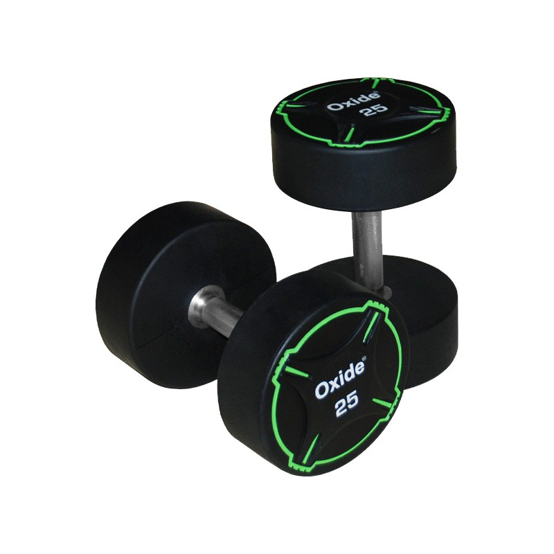 Гантель круглая, полиуретановая 5кг Oxide Fitness прямая хромированная ручка со сплошной накаткой ODB01