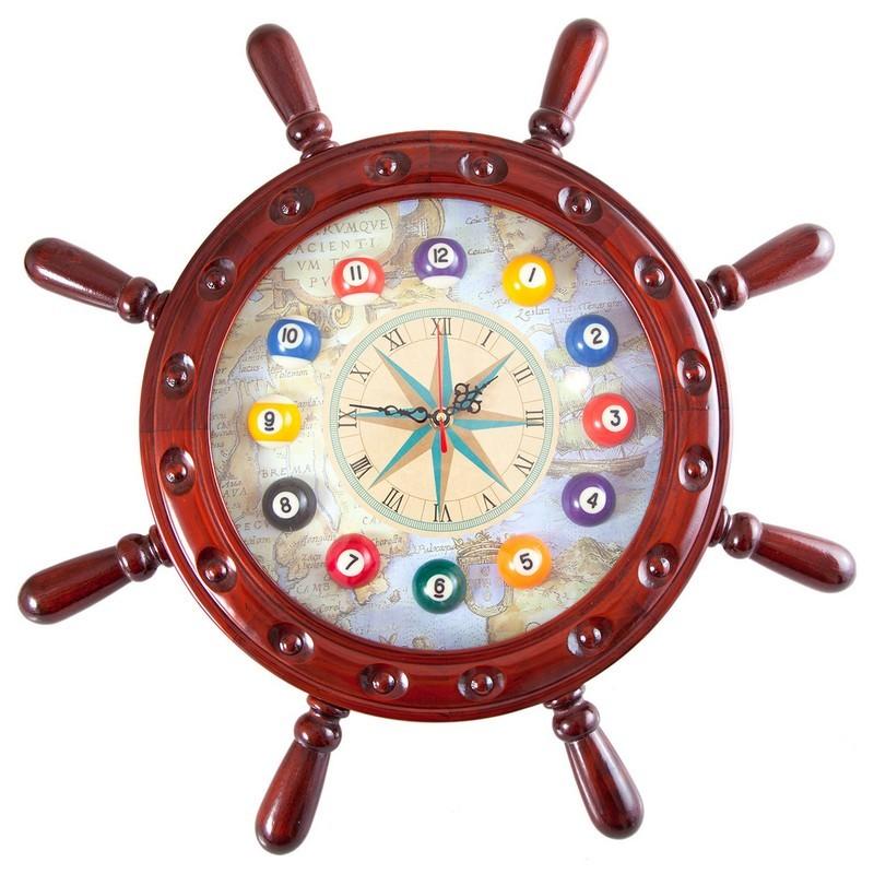 Часы настенные Weekend Штурвал 50x50 см 40.134.12.0 деревянные