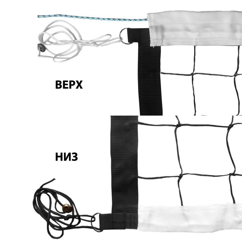 Сетка волейбольная ФСИ нить 3,0 мм, проф., трос кевларовый, FS-V-№8 черный