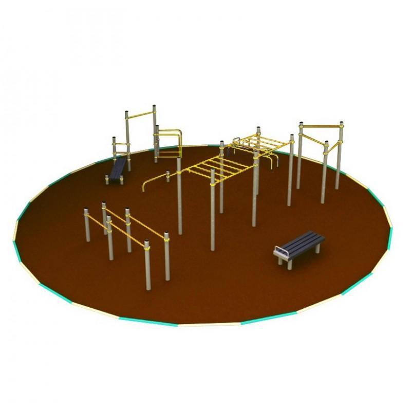 Овальная площадка для воркаута №3. Уровень - район. 124 кв.м. Hercules W-1.8.5 3988