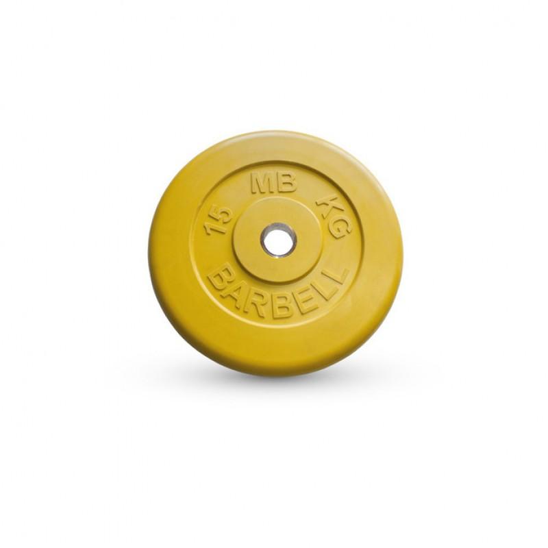 Диск обрезиненный d31мм MBBarbell MB-PltC31 15 кг желтый