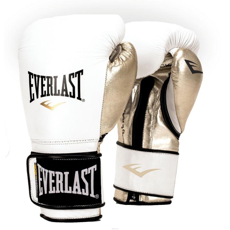 Перчатки тренировочные Everlast Powerlock PU белый/золото 12 oz P00000722