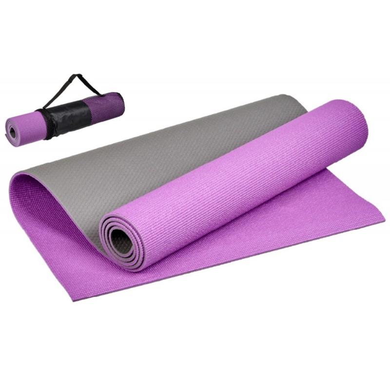 Коврик для йоги и фитнеса 183x61x0,6см Bradex двухслойный, с чехлом SF 0691 фиолетовый