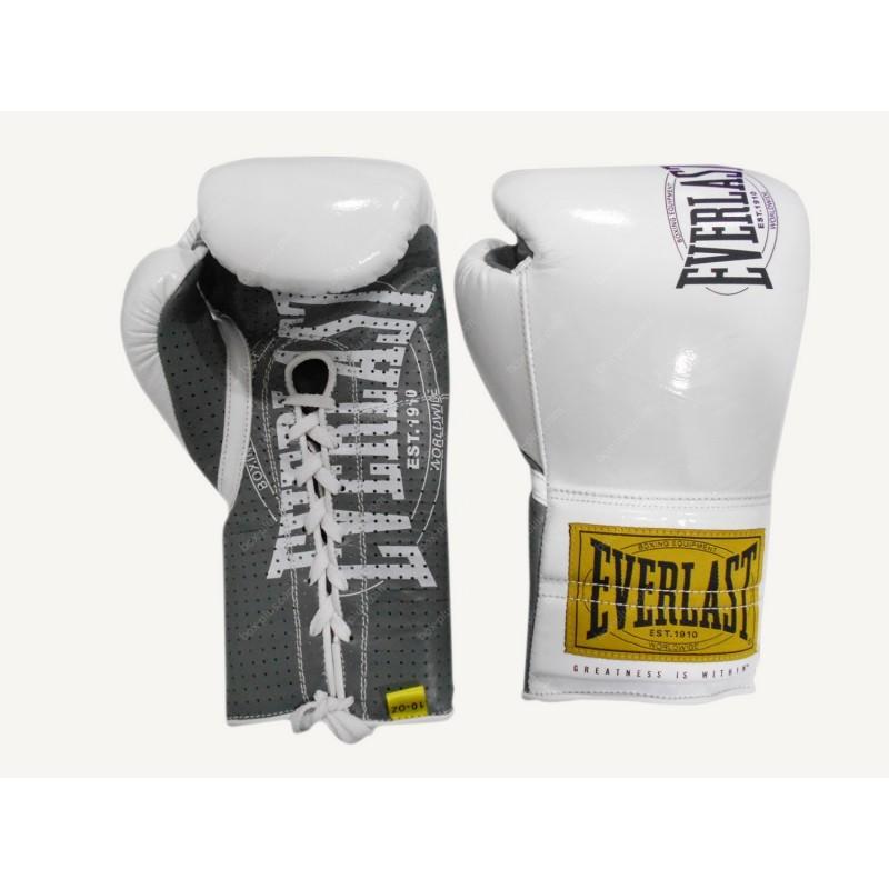 Боксерские перчатки Everlast боевые 1910 Classic 8oz белый P00001663