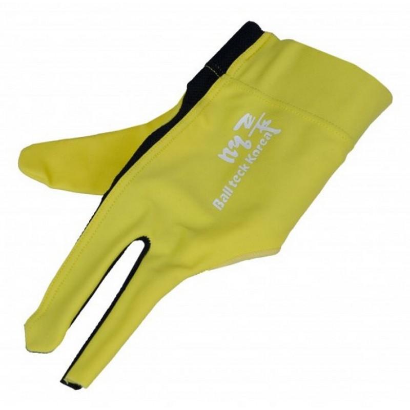 Перчатка бильярдная Ball Teck MFO (черно-желтая, вставка замша), защита от скольжения 45.251.03.6