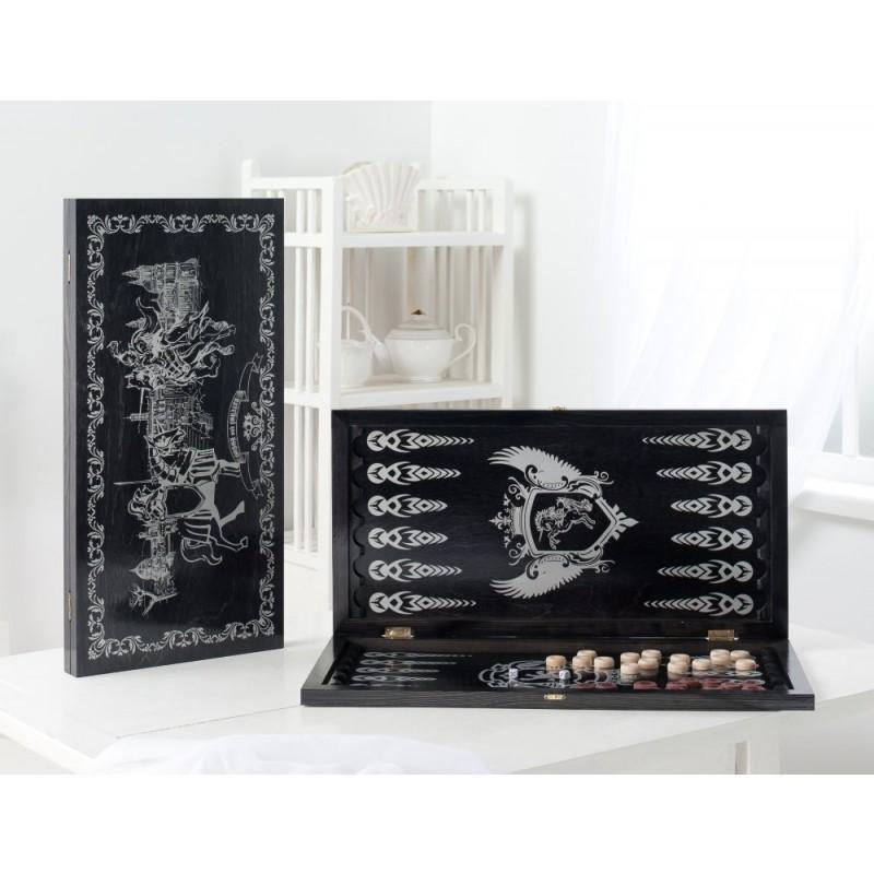 Нарды большие Рыцари 113-15 черные, рисунок серебро