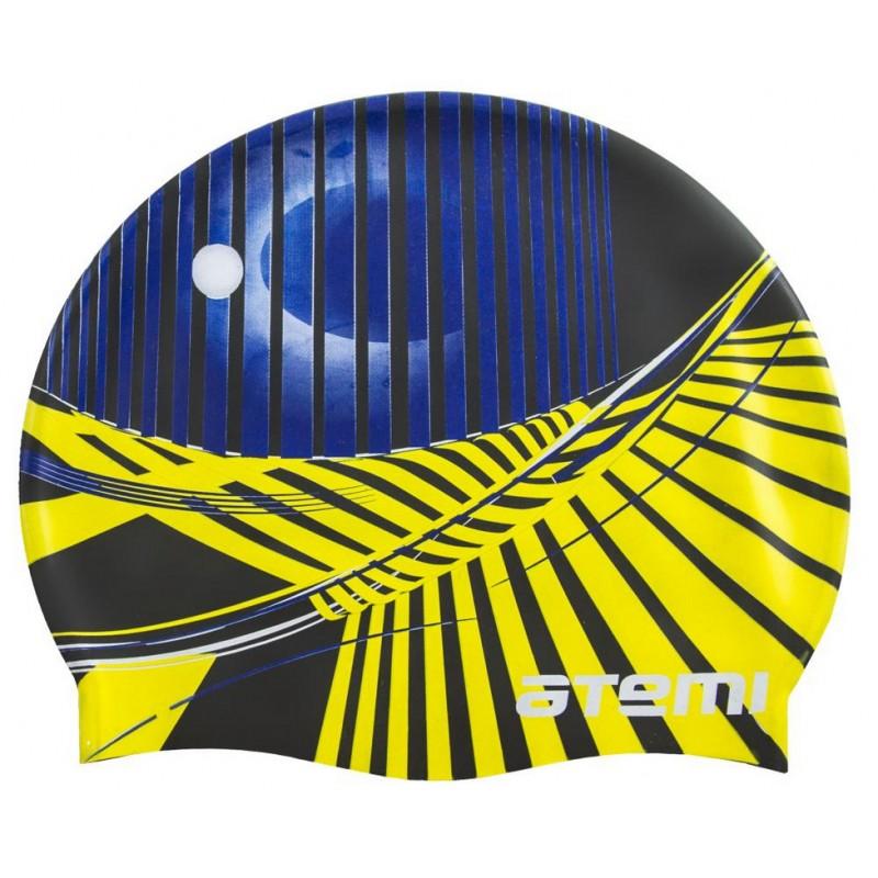 Шапочка для плавания Atemi PSC422 черная (крафика)
