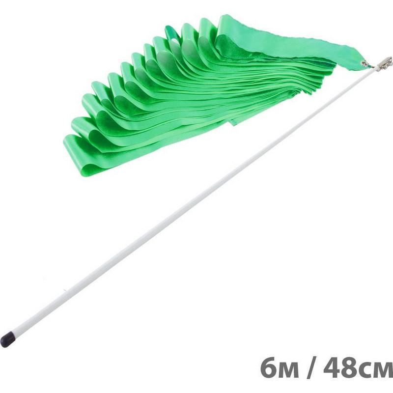 Лента гимнастическая l6м, с палочкой l48см F11753-6M зеленый