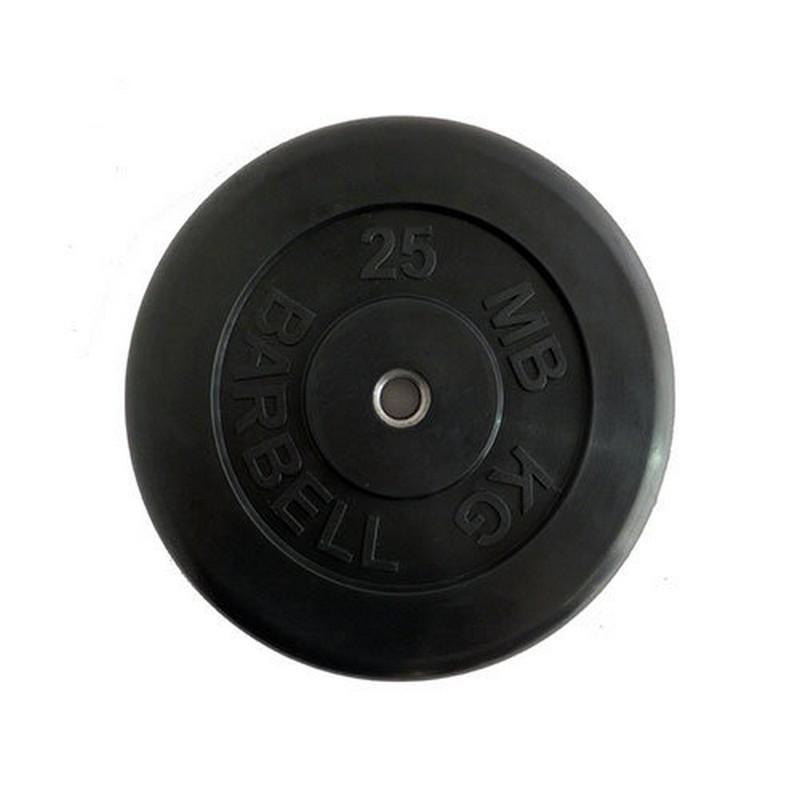 Диск обрезиненный d26мм MBBarbell MB-AtletB26-25 25кг черный