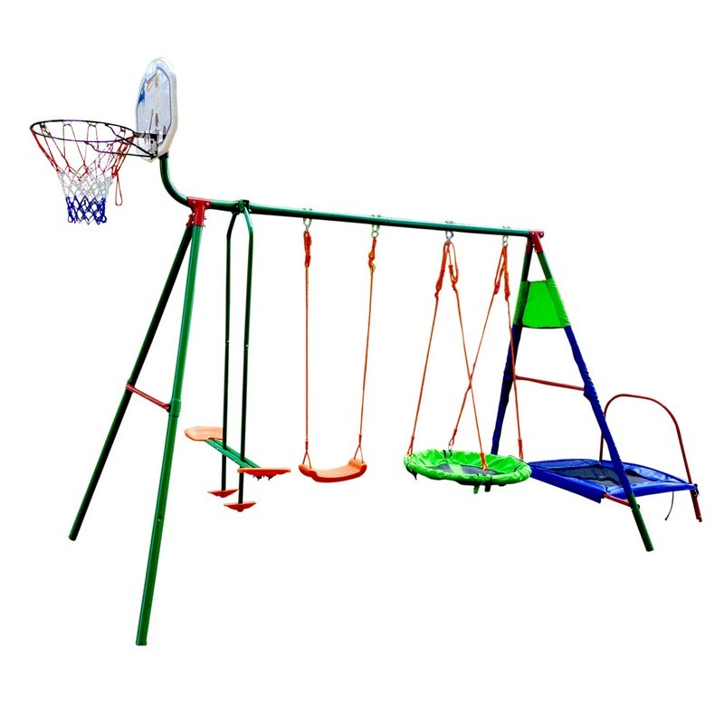 Детский уличный многофунциональный комплекс DFC с батутом и баскетболом MTB-01