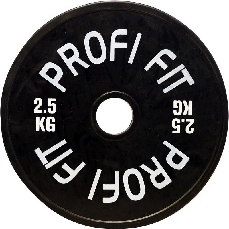 Диск для штанги Profi-Fit каучуковый, черный, d-51 2кг
