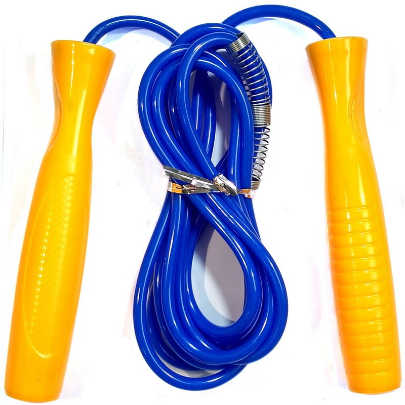 Скакалка с подшипником 2,8 м. Анатомические ручки ПВХ (желтая) R18150