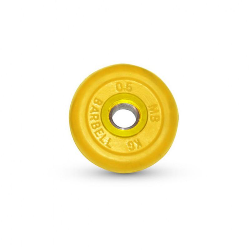 Диск обрезиненный MB Barbell жёлтый, D=31 мм, 0,5 кг MB-PltC31-0,5