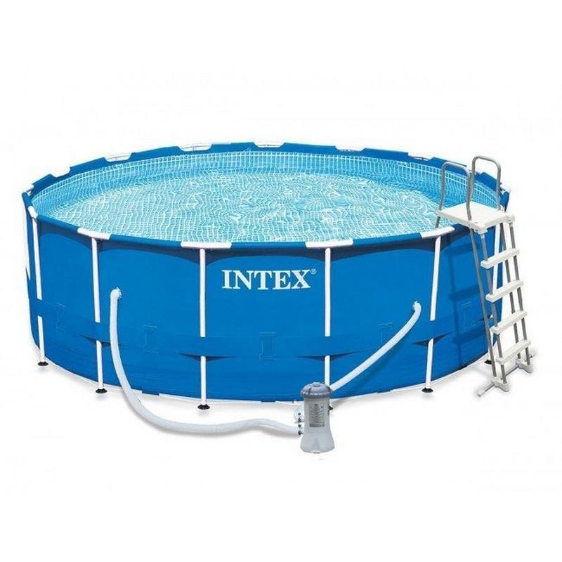 Каркасный бассейн круглый 457х122см+насос-фильтр Intex Metal Frame 28242