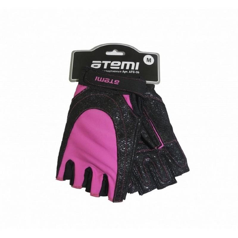 Перчатки для фитнеса Atemi AFG06P черно-розовые
