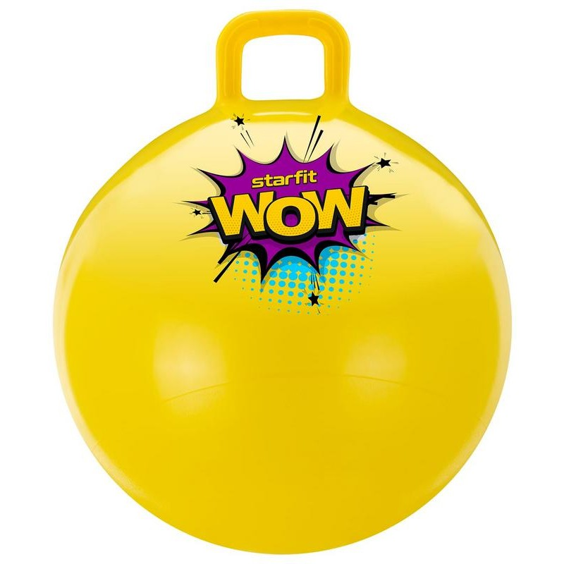 Мяч-попрыгун Starfit GB-0401, Wow, 55 см, 650 гр, с ручкой, жёлтый, антивзрыв