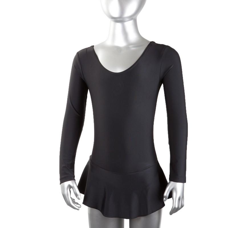 Купальник гимнастический с юбкой длинный рукав лайкра черный GO-028