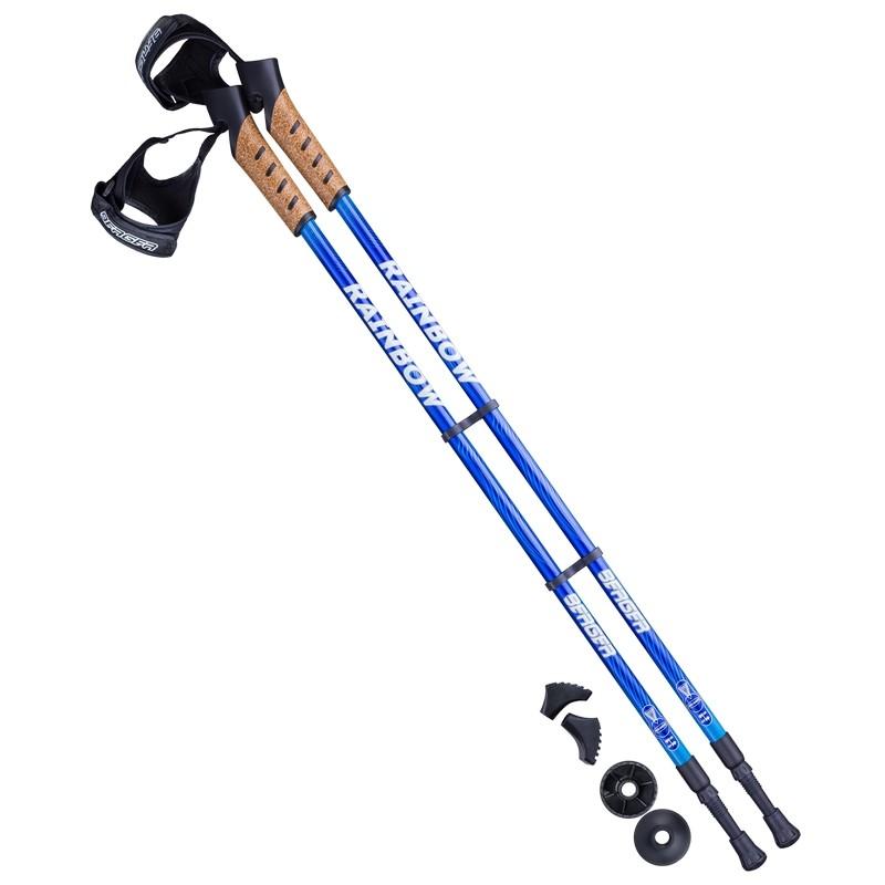 Палки для скандинавской ходьбы Berger Rainbow, 77-135 см, 2-секционные, синий/голубой
