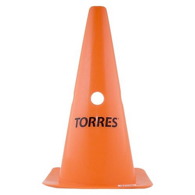 Конус тренировочный Torres TR1009, высота 30 см, с отверстиями для штанги, пластмасса, оранжевый
