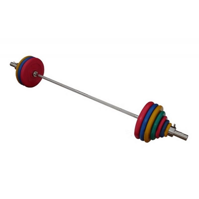 Штанга с грифом 2200*50мм, 182,5 кг в наборе, диски обрезиненные цветные ProfiGym ШТРц-182-50